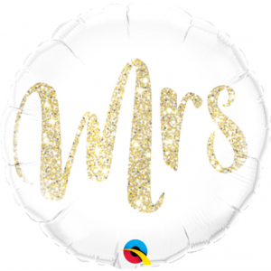 "White Foil Balloon with Gold Calligraphic Print ""Mrs"" (46cm)"