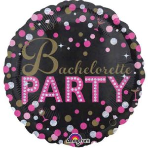 """Bachelorette Party"" Foil Balloon with Dots and Holographic Print (45cm)"