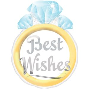 """Best Wishes"" Foil Balloon in A Shape of A Diamond Ring (53cm)"