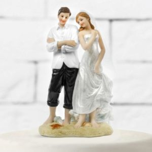 "Cake Topper ""Bride & Groom"" On The Beach"