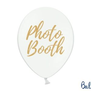 """White Latex Balloons with """"Photo Booth"""" Print (10pcs)"""