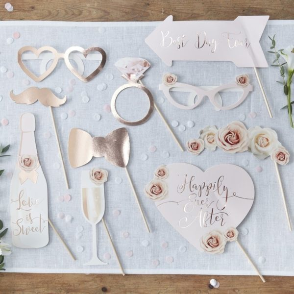 "Rose Gold Foiled Photo Booth Props ""Happily Ever After"""