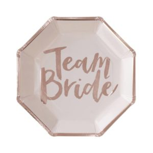 "Rose Gold Foiled ""Team Bride"" Large Paper Plates (8pcs)"