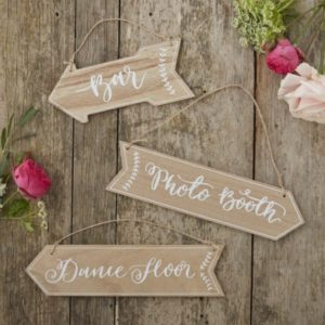 Wooden arrow signs for wedding