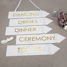White Scripted Marble Gold Foiled Arrow Signs (5pcs)