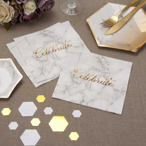 "Scripted Marble Luncheon Napkins with Gold Foiled ""Celebrate"""