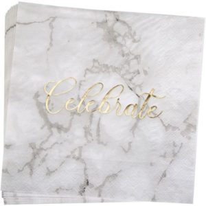 "Scripted Marble Luncheon Napkins with Gold Foiled ""Celebrate"" (16pcs)"