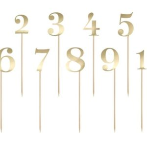Gold Table Numbers on Sticks (11pcs)