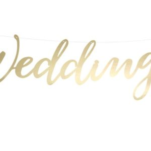 "Gold ""Wedding"" Banner (45cm)"