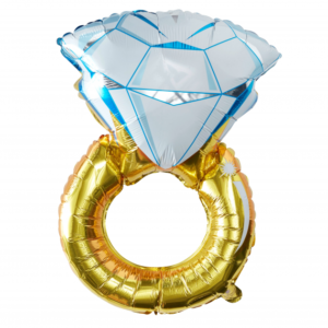 Foil Supershape Gold Diamond Ring Balloon