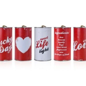 Red Vintage Wedding Car Cans (5pcs)