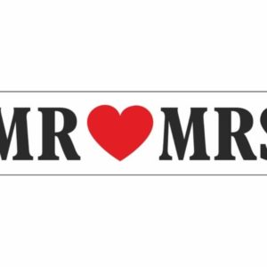 "Red Heart ""Mr & Mrs"" Paper Car Plate"