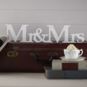"White ""Mr & Mrs"" Wooden Sign"