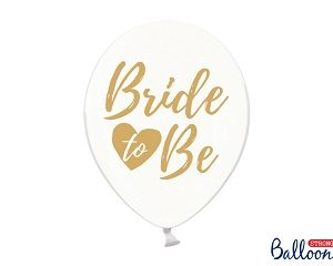 "Clear Latex Balloons with ""Bride to Be"" Gold Print (6pcs)"