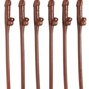Brown Plastic Willy Straws (6pcs)