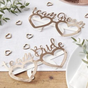 "Rose Gold Paper Glasses ""Team Groom & Team Bride"" (8pcs)"