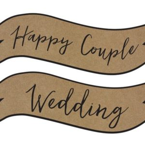 "Rustic Kraft Signs ""Happy Couple"" & ""Wedding"" (2pcs)"