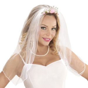 Headband with White Veil Diamonds and Flowers